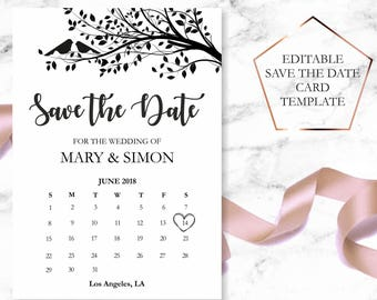 save the date template save the date printable rustic save the date card calender save the date card wedding announcement card