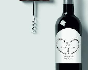 Wedding Wine Label, Custom Wine Label, Heart Wreath Mini Wine Bottle Label Printable, Arched mini bottle labels, avery bottle label template