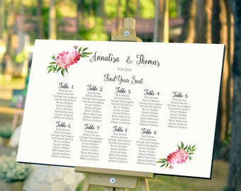 Wedding Seating Plan, Peony Seating Chart template, pink peonies guest list printable, navy guest list