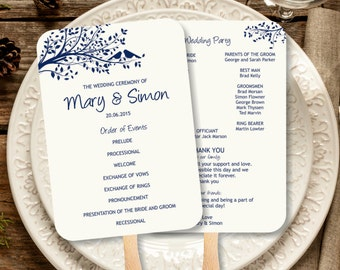 Vintage Navy Wedding Program Fan template, Rustic Kraft Birdie Foldable Wedding Program, Instant Download birds on a tree program template