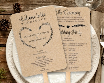 Vintage Wedding Program Fan template, Rustic Kraft Heart Wreath Foldable Wedding Program, Instant Download wedding program template