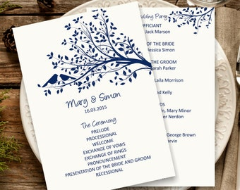 Navy Wedding Program Template, Rustic Birdie Wedding Program, Download Instantly wedding program template, vintage wedding program