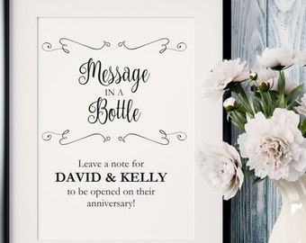 message in a bottle sign message in a bottle sign template etsy