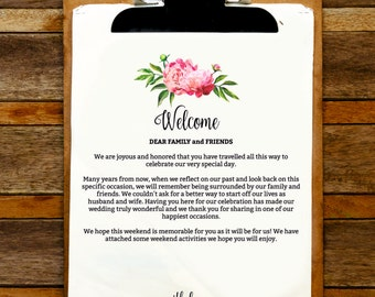 Floral Wedding Welcome Letter and Itinerary Template, Welcome Bag, Pink Peonies Itinerary, Welcome Letter, Wedding Favor, Wedding Printables