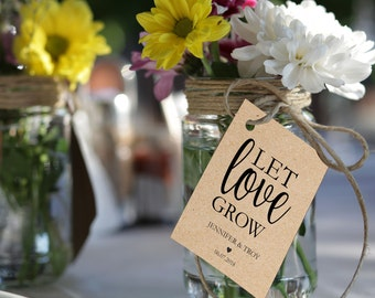 """Let love grow tag, 2x3"""" wedding favor tags, gift label printable template, wedding favor label, favor tags instant PDF editable text"""