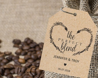 The perfect blend tag, wedding favor tags, gift label printable template, wedding favor label template, favor tags instant PDF editable text