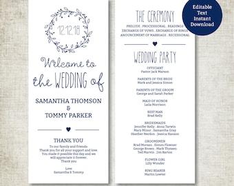 Classic Wreath Navy Wedding Program Template Download, Editable Text, Kraft Wedding Program, Instant Download PDF template, Tealength