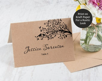Rustic Place cards (Foldover), Wedding Place cards with birds on a tree, Cheap placecards, Foldover Escort cards