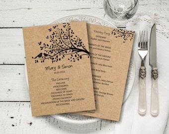 Wedding Program Template, Rustic Birds on a Tree Wedding Program, Download Instantly wedding program template, digital PDF, you print, DIY