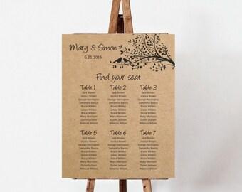 Wedding Seating Chart board, Rustic Kraft Birds on a tree Wedding Seating Plan template, rustic wedding plan