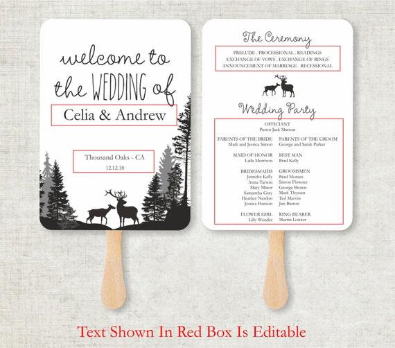 wedding program template rustic deers foldable wedding program