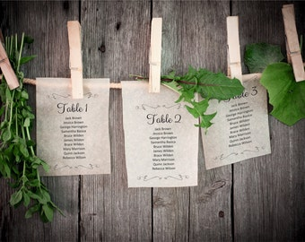 Wedding Seating Plan, Editable Text Swashes Guest List, 1-40 table templates, Rustic Kraft Wedding Seating Chart Board template