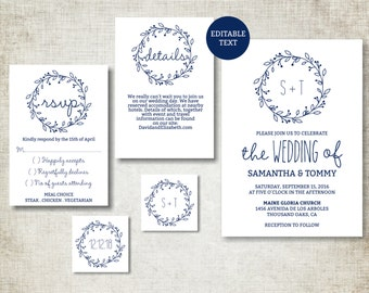 Wedding invitation template, Navy Classic Wreath Wedding Invite printable, Digital PDF, simple wedding invitation, editable text