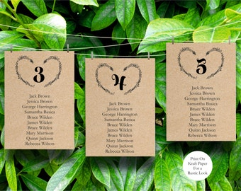 Wedding Seating Chart Template, Heart Wreath Wedding Guest List, Header Signs and table Signs 1-40, Instant Download