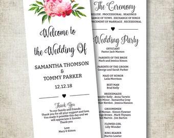 Wedding Program Template Download, Boho Floral Wedding Card, Pink Peony Wedding Program printable, Instant Download PDF template, Tealength