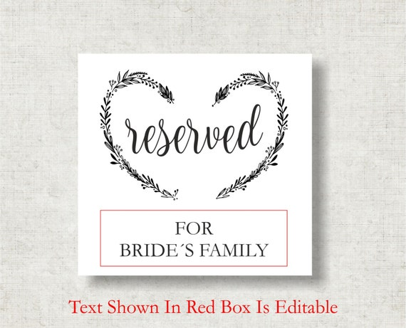 image regarding Printable Reserved Sign called Marriage ceremony Reserved Indicator Printable Template, Wedding day Rite