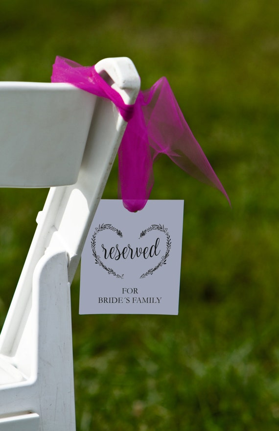 wedding reserved sign printable template wedding ceremony etsy