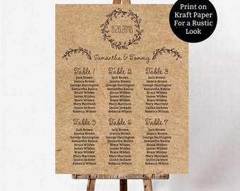 Wedding Seating Plan, Classic Wreath Seating Chart template, Vintage guest list printable, navy guest list
