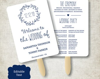Navy Blue Vintage Wedding Program Fan template, Classic Wreath Foldable Wedding Program, Instant Download wedding program template