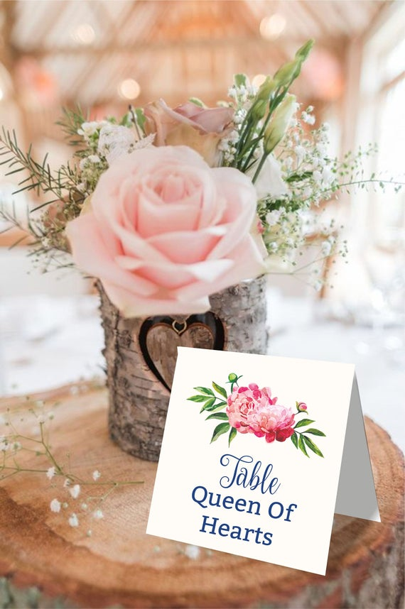 wedding table names template peony table names navy reserved etsy
