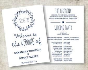 Navy Blue Wedding Program Download, Editable Text, Vintage Wedding Program Template, Instant Download PDF template, Classic Wreath