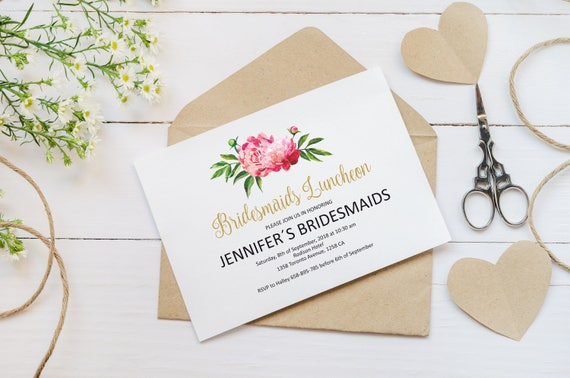 bridesmaids luncheon invitation template pink peonies etsy