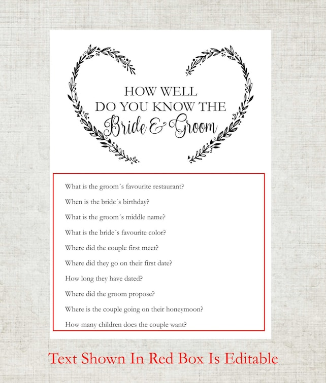 How Well Do You Know The Bride And Groom Printable Card Bridal