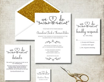Wedding Invitation Suite, Kraft Wedding Invites, We Do wedding invitations, Printable Digital PDF, rustic wedding invitation