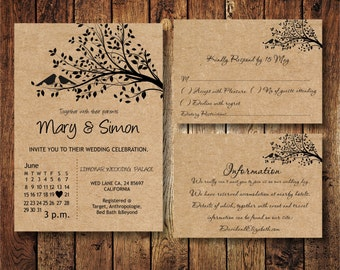 Wedding Invitation Suite template with birds on a tree, Kraft Paper Wedding Invite, Digital PDF, personalised casual birdie wedding invita