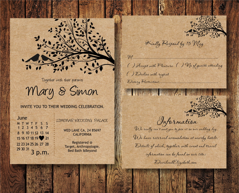 Diy Kraft Paper Wedding Invitations: Wedding Invitation Suite Template With Birds On A Tree