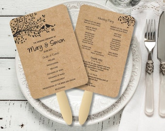 EDITABLE Wedding Program Fan template, Rustic Kraft Birdie Foldable Wedding Program, Instant Download wedding program template, digital PDF,
