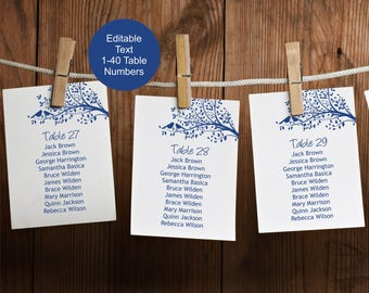 Wedding Seating Chart Board Template, Navy Seating Cards Template, 1-40 table numbers, Rustic Kraft Wedding Seating Plan
