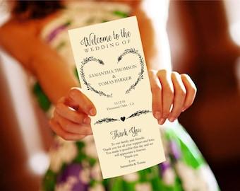Heart Wreath Wedding Program Template Download, Editable Text, Kraft Wedding Program, Instant Download PDF template, Tealength