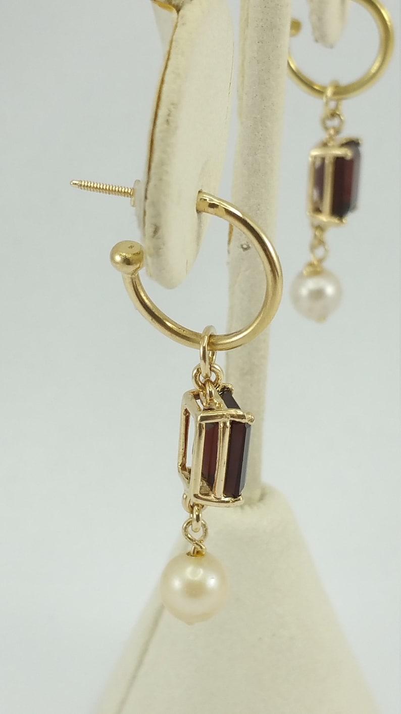 Gorgeous 14K Karat Solid Yellow Gold Designer Earrings With Garnet /& Pearls