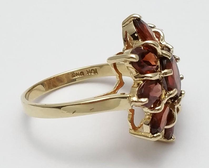 Gorgeous 10K Karat Solid Yellow Designer Ladies Gold Ring With Garnets