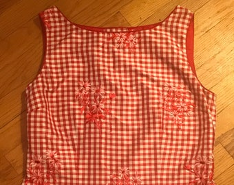 Red Gingham Top with Floral Embroidery