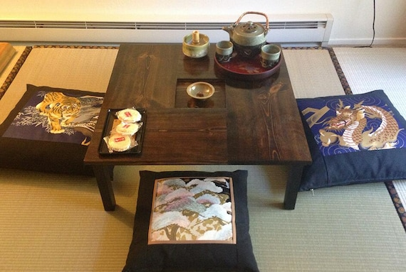 chabudai tea dining table with recessed center made to order etsy