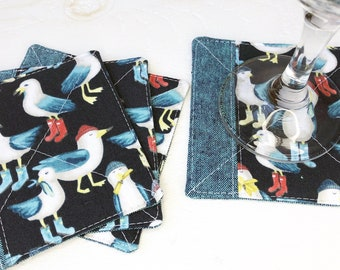Fabric Coaster Set of 4 in Teal Seagull | Linen Fabric Drink Coaster Set, Quilted Linen Coaster Set, Fabric Coaster Cup, Fabric Coaster Mug