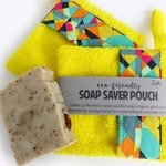 Terry Cloth Soap Saver Bags - Set of 2 - Sunshine Yellow Cotton - Zero Waste Gifts // Eco Friendly Shower Accessory - Loofah Soap Pouch