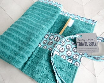 1d167819e8 Travel Organizer Roll - Teal-Turquoise Terry Cloth with Typewriter Key  Print    Toothbrush Case    Travel Roll-up