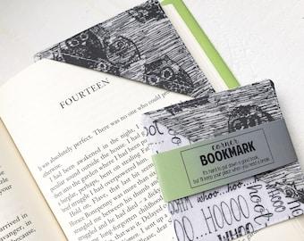 Corner Bookmark in Hoot Hoot Owl, Fabric Bookmarks, Animal Book Mark, Book Lover Gift