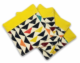 Fabric Coaster Set of 4 in Yellow | Linen Fabric Drink Coaster Set, Quilted Linen Coaster Set, Fabric Coaster Cup, Fabric Coaster Mug