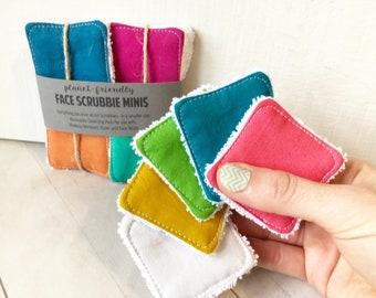 MINI Face Scrubbies Set in Assorted Rainbow, Reusable Cotton Squares, Eco-Friendly Toner Pads