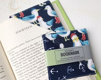 Corner Bookmark in Seagull Anchors, Nautical Fabric Bookmarks, End of Year Gift, Student Gift