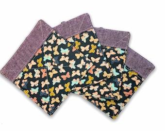 Fabric Coaster Set of 4 in Purple Butterfly | Linen Fabric Drink Coaster Set, Quilted Linen Coaster Set, Fabric Coaster Mug