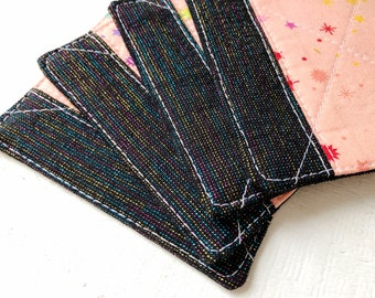 Fabric Coaster Set of 4 in Sherbet Rainbow | Linen Fabric Drink Coaster Set, Quilted Linen Coaster Set, Fabric Coaster Cup