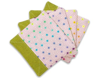 Fabric Coaster Set of 4 in Lime | Linen Fabric Drink Coaster Set, Quilted Linen Coaster Set, Fabric Coaster Cup, Fabric Coaster Mug
