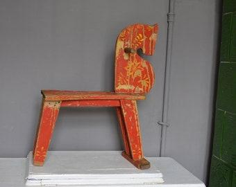 Vintage Childu0027s Rocking Chair   Antique Wooden Cradle   Horse Rocking    Primitive Baby Rocking Chair.