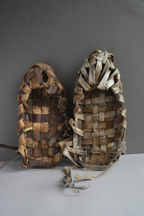 shoes folk tool style shoes Vintage straw Wicker russian carved Birch woven Hand bark wooden shoes Rustic Shoes bast FUTnPAq