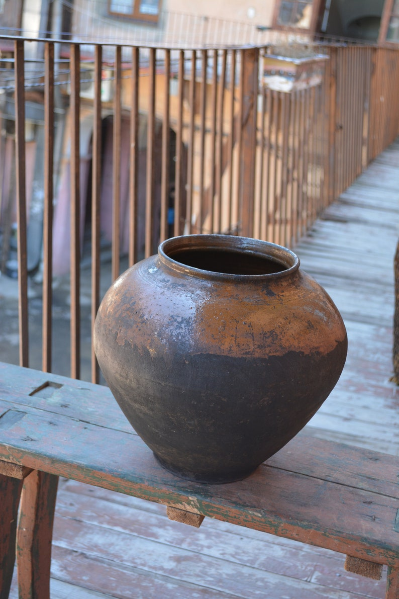 Very old antique ancient clay vessel Country decor Pottery jug Antique clay pitcher Rustic bowl Housewares.